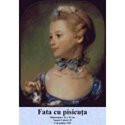 Model goblen Fata cu Pisicuta