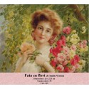 Model goblen Fata cu flori de Emile Vernon