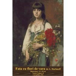 Model goblen Fata cu flori de vara de A. Harlmoff
