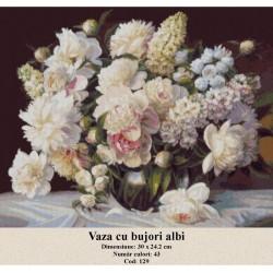 Set goblen  Vaza cu bujori albi