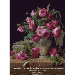 Kit goblen Trandafiri in vas de argint de Ferdinand Georg Waldmuller