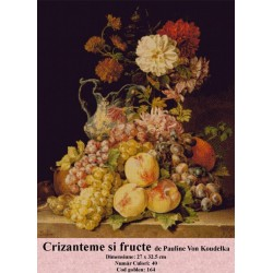 Model goblen Crizanteme si fructe de Pauline Von Koudelka