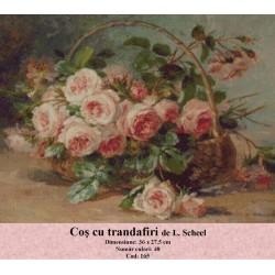 Set goblen  Cos cu trandafiri de L. Scheel