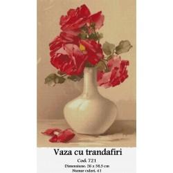 Model goblen Vaza cu Trandafiri