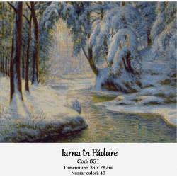 Model goblen Iarna in padure